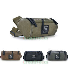 Unisex Canvas Travel Hiking Motorcycle Bucket Waist Fanny Pack Sling Chest Bag