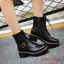 Punk Ankle Boots Women Lady Low Heel Buckle Belt Lace Up Shoes Bootie Shoes NEW