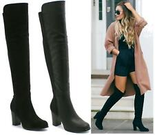 LADIES WOMENS BLACK LYCRA STRETCH OVER THE KNEE HIGH BLOCK HEEL BOOTS SHOES SIZE