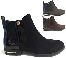NEW WOMENS PULL ON FLAT CHELSEA ANKLE BOOTS FASHION SMART LADIES PIXIE SHOE SIZE