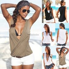 Women Summer Vest Top Sleeveless Blouse Casual Tank Tops T-Shirt Blouse EFFU