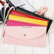 New Women Candy Color Envelope Clutch Bag Thin Wallet Purse Card Holde ES9P