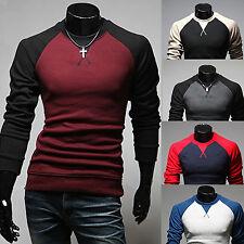 Mens Casual Slim Fit Cotton Polo Neck Tshirts Tops Long Sleeve Shirt Tee Clothes
