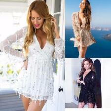 Sexy Women V-Neck Sequins Bodycon Bandage Party Cocktail Evening Club Mini Dress