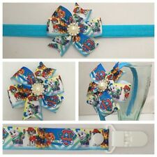dummy clip pacifier girls baby paw patrol headband hair clip bow skye  photo