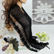 Women Fashion Scarf Floral Scarf Flowers Embroidery Tassel Cotton Long Scarf New
