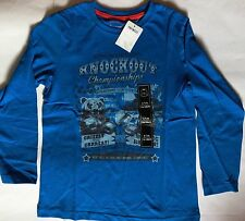 Boys Blue Long Sleeve T Shirt with Knockout Champions detail