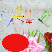 1PC Dragonfly On Sticks Popular Art Garden Vase Lawn Craft Decoration 4Colors