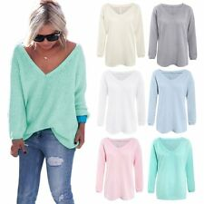 Womens V Neck Loose Knit Sweater Pullover Long Sleeve Crohet Baggy Sweater Tops