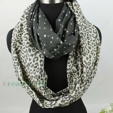 Fashion Women's Leopard Stars Infinity Loop Cowl Eternity Endless Circle Scarf