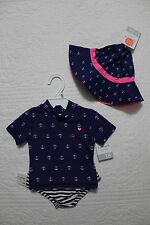 NEW CARTERS BABY GIRLS 2 PIECE RASH GUARD SWIMSUIT WITH MATCHING HAT NAVY PINK
