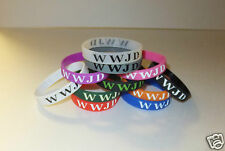 WWJD inspirational wristbands * durable* silicone (front/back text) *15 colors!*