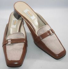Talbots Women's Leather Slides Mules Low Heel Shoes Size 8M Made in Italy