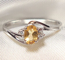 Genuine Faceted Oval Citrine .925 Sterling Silver Ring Size -- CT853
