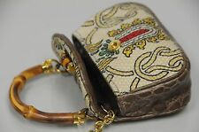 $1750 Gucci new bamboo CROCODILE taupe brown bamboo top handle bag CHARM RARE
