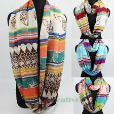 Fashion Women's Ethnic Striped Infinity 2Loop Cowl Eternity Endless Voile Scarf