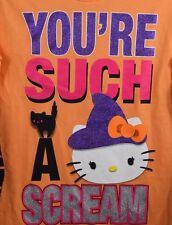 New Hello Kitty Halloween Shirt Witch Black Cat Striped Orange Long Sleeve Girls