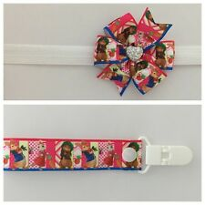 girls baby headband dummy clip hair bow peter rabbit pink pacifier binky dummie
