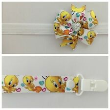 girls baby headband dummy clip hair bow tweety bird pacifier binky dummie