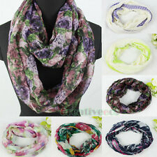 Fashion Women's Print Infinity Loop Cowl Eternity Voile Casual Scarf 6-Color New