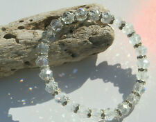 6 x 8mm CLEAR CRYSTAL GLASS BEADED SILVER STRETCH CHARM BRACELETS IN MIXED SIZES