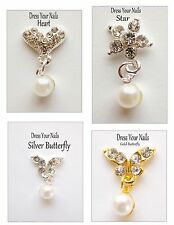 3d Nail Art Jewellery Gold/Silver PEARL Dangles/Droppers Clear Rhinestone BLING