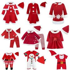 Newborn Baby Boys Girls Christmas Costume Claus Santa Dress+Hat Outfits Clothes