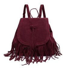 Fashion Tassel Bucket Drawstring Plush Portable Bag Backpack for Women SAU