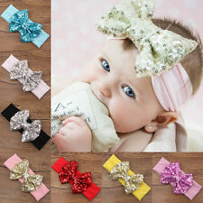 Cute Baby Infant Girls Hair Band Sequined Bow Headband Turban Knot Hair Headwear
