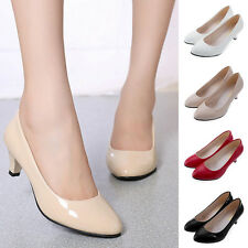 Women Ladies Low Mid High Kitten Heel Work Casual Smart Court Shoes Pumps SAU