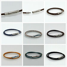 New sell stainless steel 3mm Braided Genuine Leather Cord Necklace/Bracelet