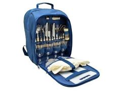 Picnic Cooler Rucksack 4 Person Picnic Set Plates Cutlery Glasses Cool Bag