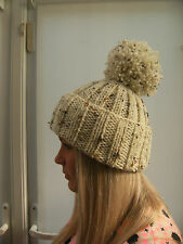 HAND KNITTED,CHUNKY, BOBBLE / BIG POMPOM HAT, ADULT/ CHILD /BABY, NEW COLOURS