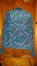 TRUE VINTAGE RETRO LADIES ALEXANDRIA PAISLEY BLOUSE PADDED SHOULDERS 36 CHEST