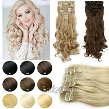 100% Real Clip In Hair Extensions Au Straight Wavy Full Head Hair Extentions T8x