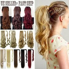 Extra Long Real Clip In Hair Extensions Claw Wrap Around Ponytail hairpiece tps