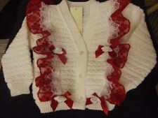 DREAM BABYWEAR GIRLS ROMANY WHITE RED LACE FRILLY CARDIGAN 6-12 12-18 18-24MONTH