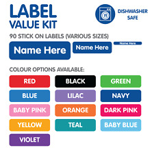 Personalised Name Labels Value Kit For School & Daycare - 90 Labels - Colour Opt