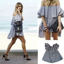 Women Fashion Sexy Off Shoulder Ruffle Clubwear Evening Party Short Mini Dress