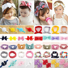 Baby Toddler Kids Girls Bunny Rabbit Bow Turban Headbands Hair Band Headwrap Lot