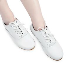 Women Sweet Lace Up British Style Round Toe Oxford Flat Ballet Casual Shoes SAU