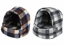Gor Pets Highland Check Hooded Bed Sherpa Fleece Luxury Cat Puppy Dog Igloo Cave