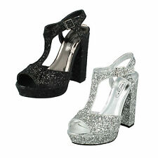 LADIES SPOT ON HIGH HEEL SMART CASUAL PARTY SHOES F10567 SIZES 3-8