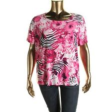 JM Collection 3830 Womens Matte Jersey Floral Print Blouse Top Plus BHFO