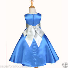 ROYAL BLUE FLOWER GIRL DRESS PAGEANT CHRISTMAS HOLIDAY TODDLER SASH A-LINE CHILD