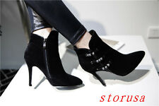High Stiletto Heel Pointy Toe Women Ankle Boots Bootie Suede Luxury Shoes Size