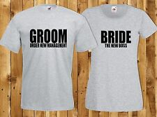 Bride Groom Matching Couples T-Shirts Wedding Day Anniversary Husband Wife Gift