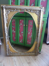 BEAUTIFUL EX LARGE ORNATE GILDED ANTIQUE STYLE WOOD FRAME WITH OVAL CENTRE