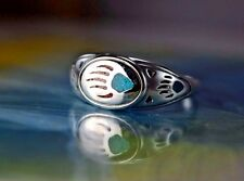 Sterling silver ring with inlaid Turquoise & Red Coral Bear Paw Size 7