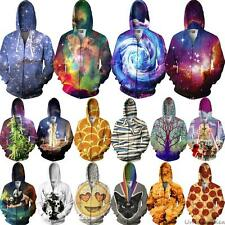 3D Graphic Print Pocket Sweatshirt Hoodies Zip-Up Tracksuit Jumpers Jacket Tops